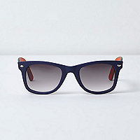 Navy and orange rubberised retro sunglasses