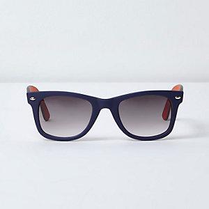 Navy and orange rubberised retro sunglasses