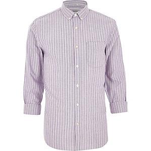 Chemise classique rayée violette à manches longues