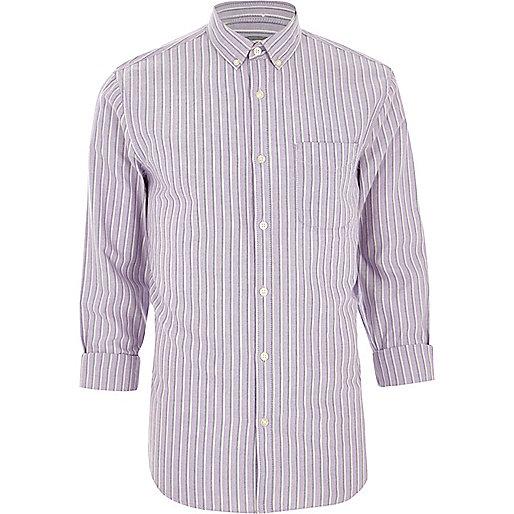 Purple stripe regular fit long sleeve shirt