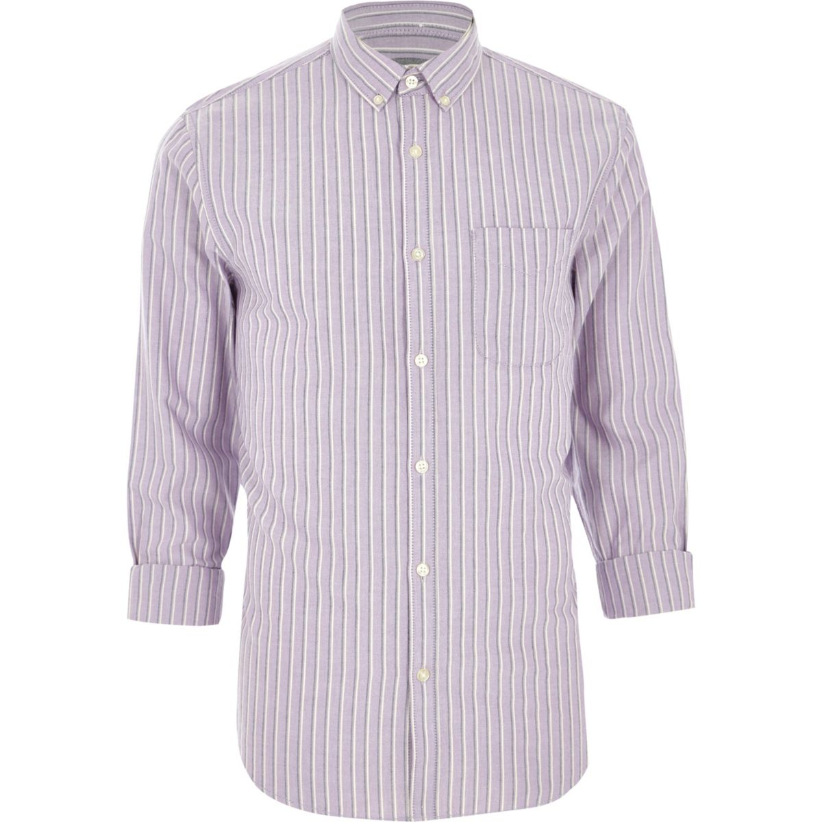 Purple stripe regular fit long sleeve shirt