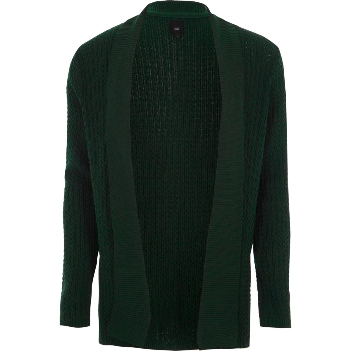 Dark green cable knit open front cardigan