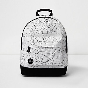 White Mi-Pac cracked backpack