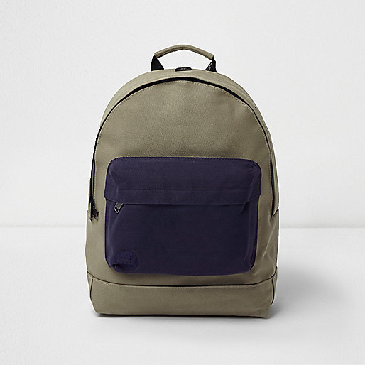 Khaki Mi-Pac contrast pocket backpack