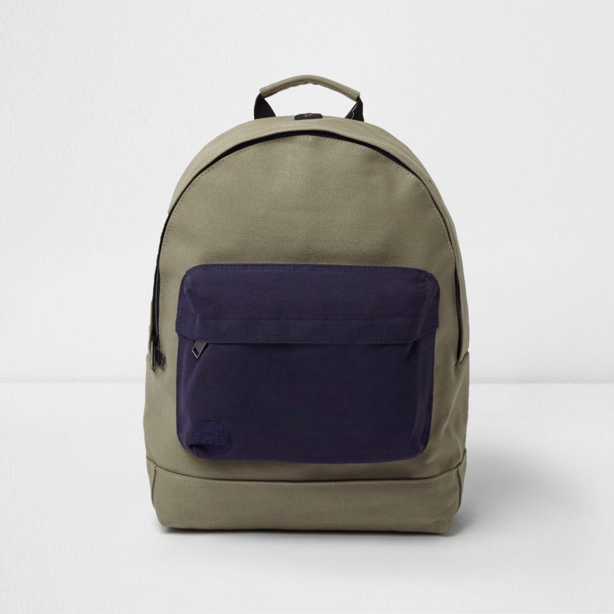 Khaki Mi-Pac contrast pocket backpack