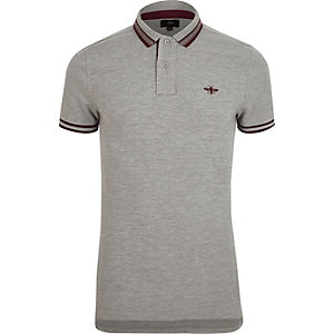 Grey marl muscle fit tipped polo shirt