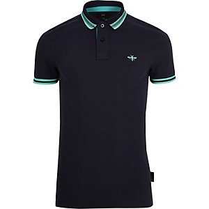 Marineblaues Muscle Fit Polohemd