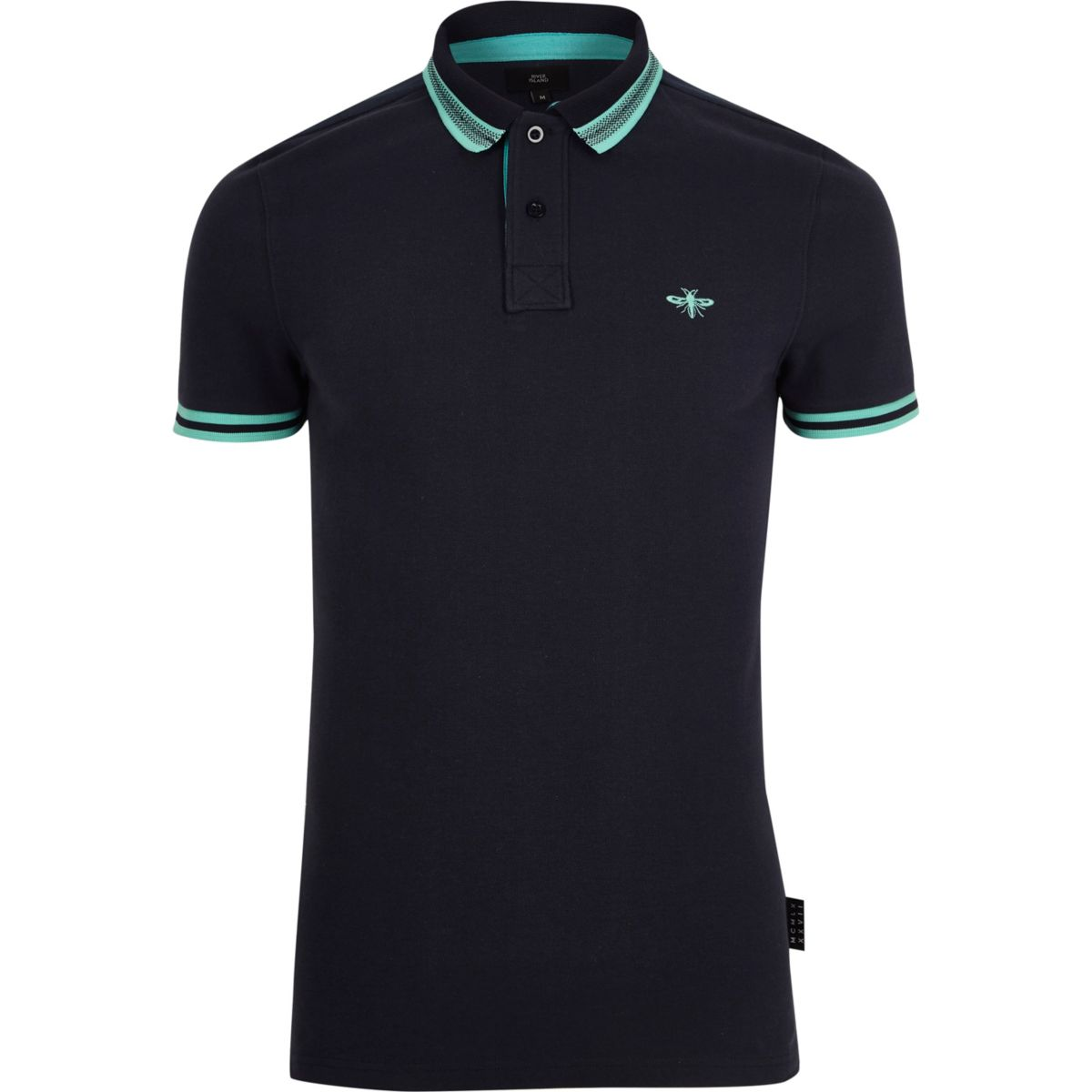 Navy muscle fit tipped polo shirt