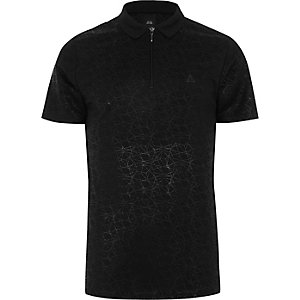 Black geo print slim fit polo shirt