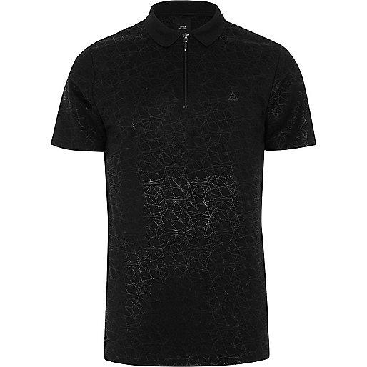 Black geo print slim fit polo shirt