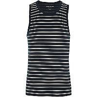 Navy stripe muscle fit vest