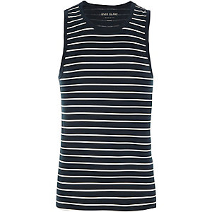 Navy stripe muscle fit vest