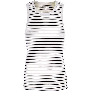 White stripe muscle fit tank