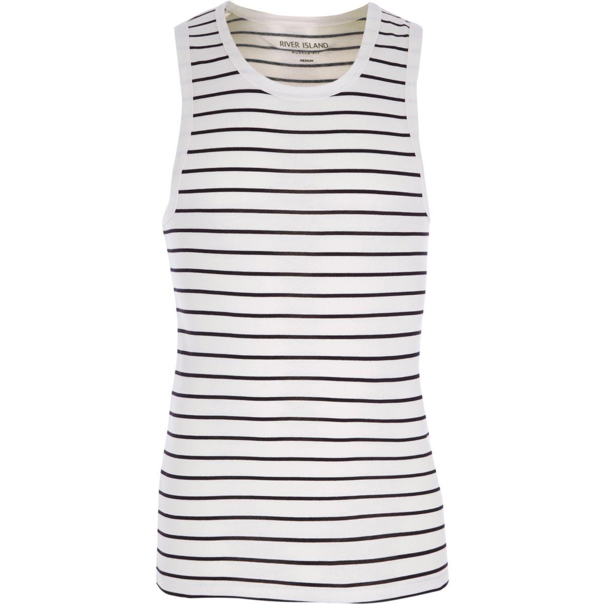 White stripe muscle fit vest