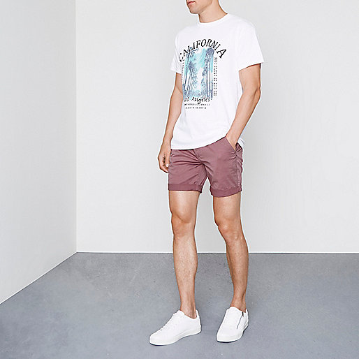 Berry red rolled hem chino shorts