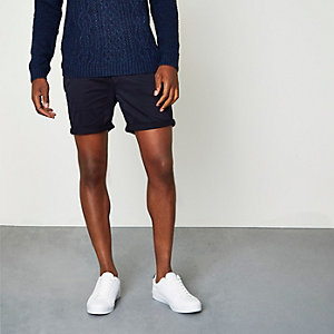 Short chino bleu marine à revers