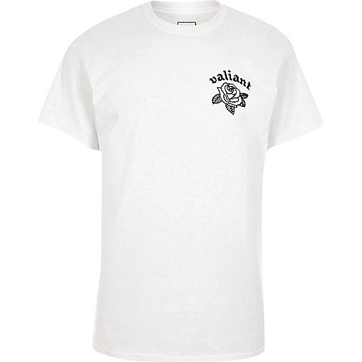 White 'valiant' print short sleeve T-shirt