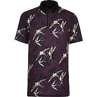 Big and Tall dark red bird short sleeve shirt