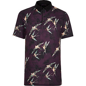 Big and Tall dark red bird short sleeve shirt