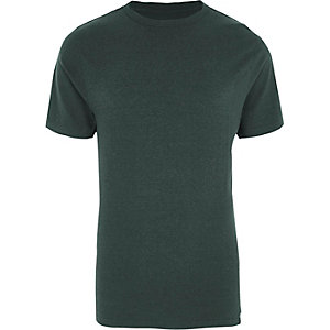 Dark green slim fit crew neck T-shirt