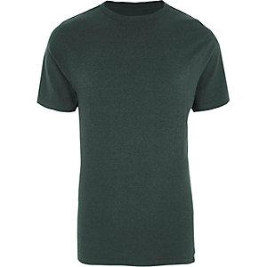 Donkergroen slim-fit T-shirt met ronde hals
