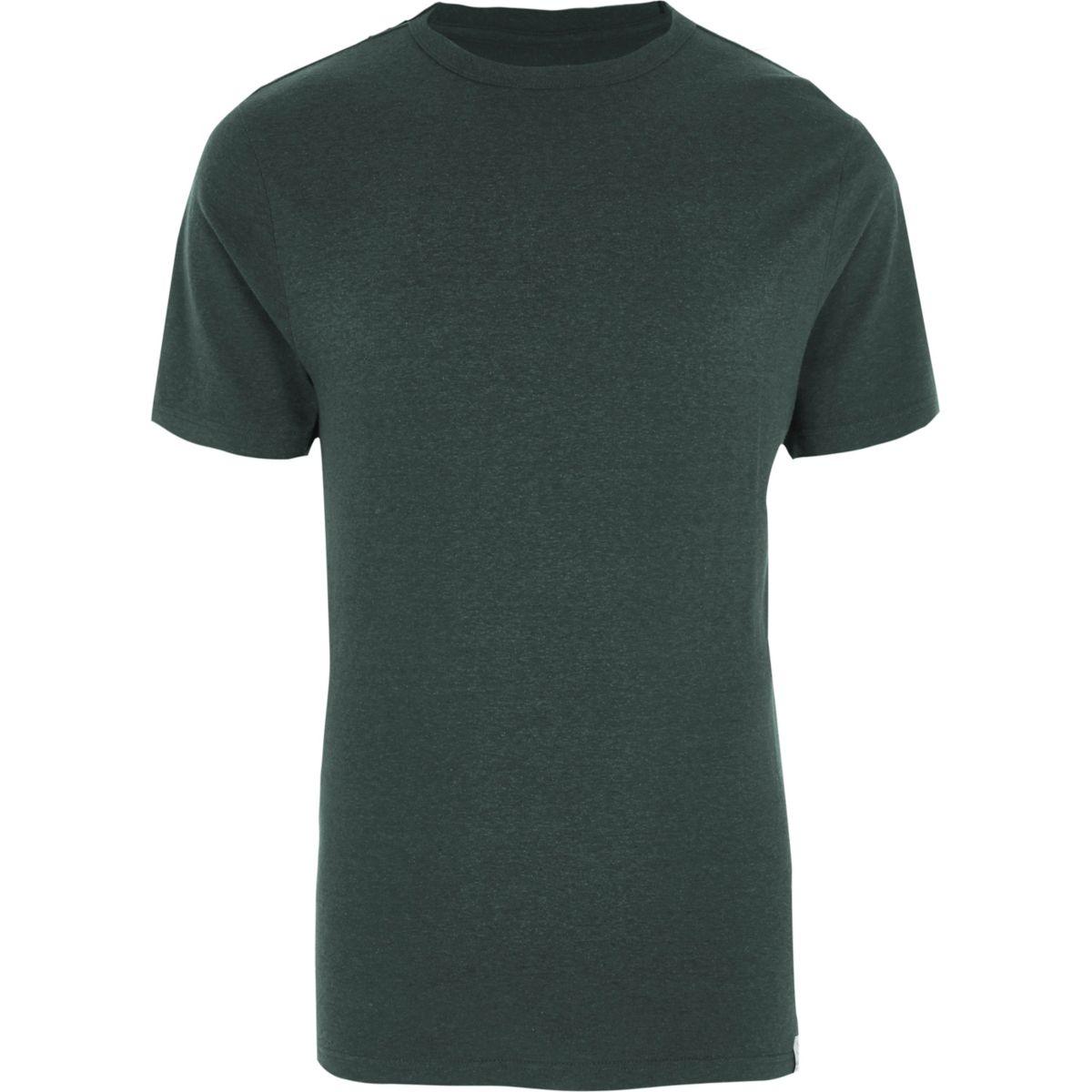 Dark green slim fit crew neck T-shirt