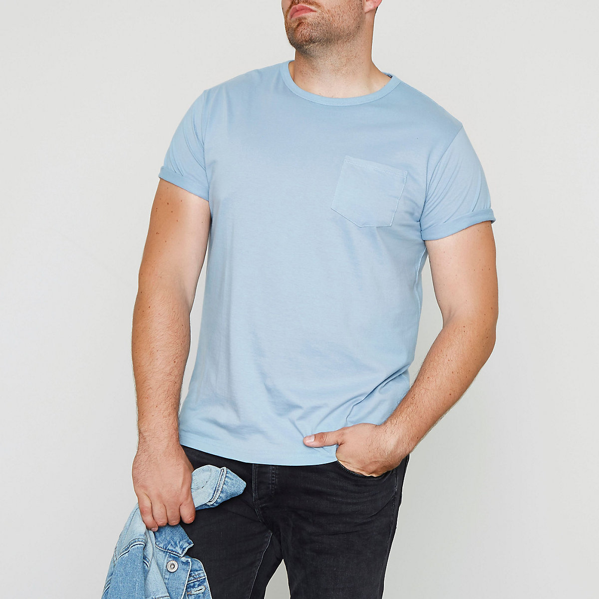 Big and Tall – T-shirt bleu clair à poche