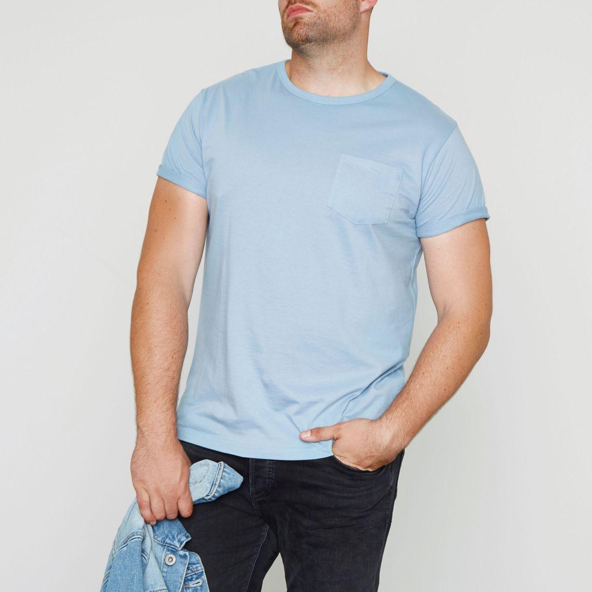 Big & Tall – Hellblaues T-Shirt mit Tasche