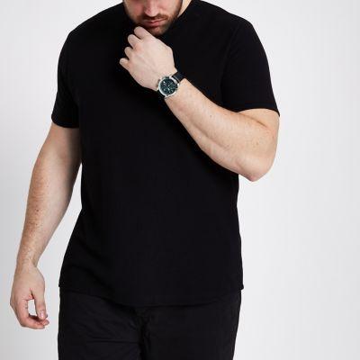 RI Big and Tall Zwart T-shirt met ronde hals en wafeldessin