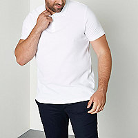 Big and Tall white waffle polo shirt