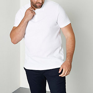 Big and Tall - Wit poloshirt met wafeldessin