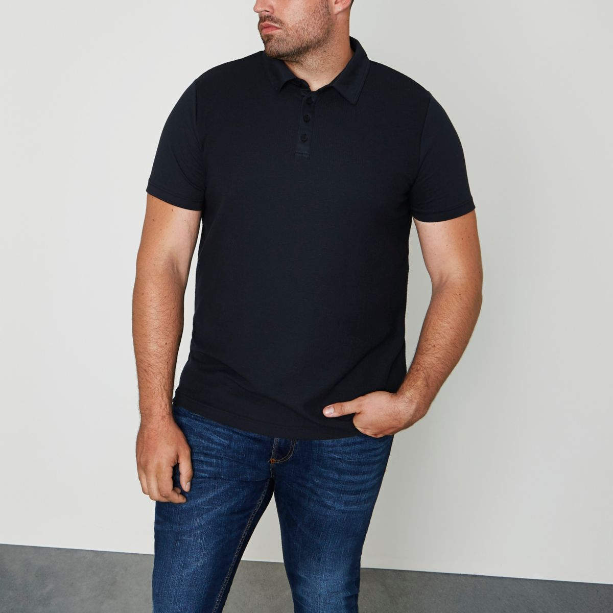 Big and Tall navy waffle polo shirt