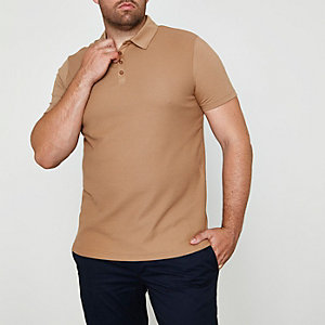 Big and Tall – Polo en tissu gaufré marron clair
