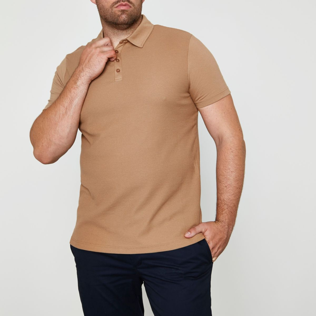 Big and Tall light brown waffle polo shirt