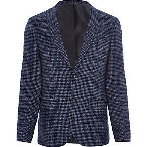 Blue puppytooth check skinny fit blazer