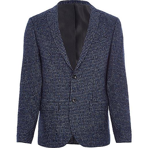 Blue puppytooth check skinny fit blazer