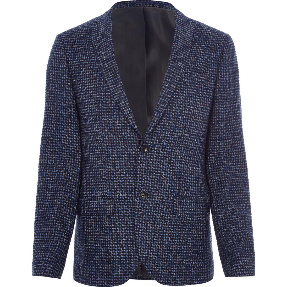 Blauwe skinny-fit blazer met pied-de-poule-motief
