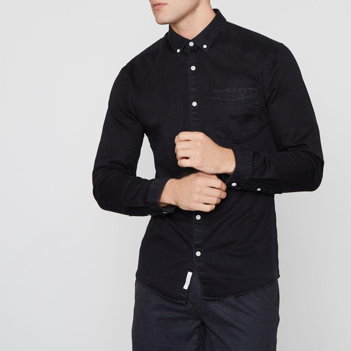 Black muscle fit button-down denim shirt