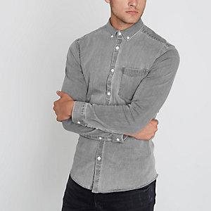 Washed grijs aansluitend denim overhemd