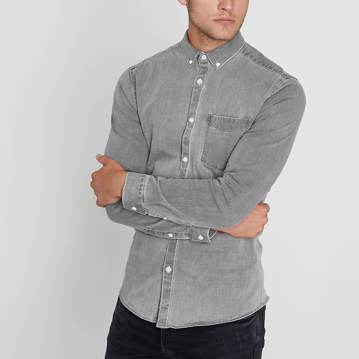 Washed grey muscle fit denim shirt
