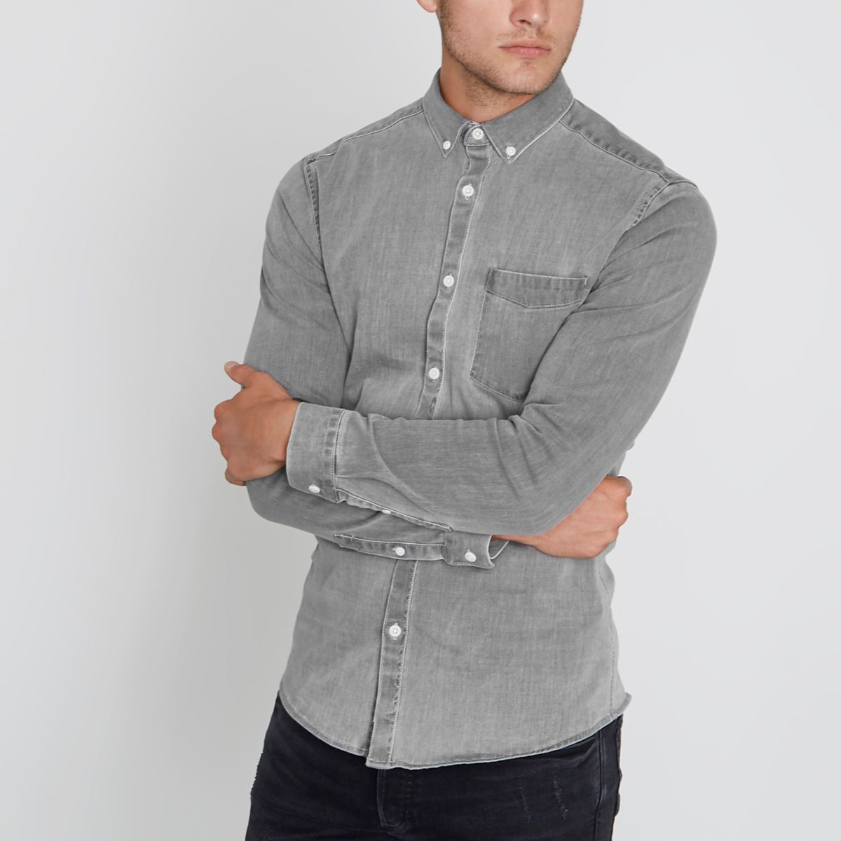 Washed Grey Muscle Fit Denim Shirt by River Island