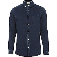 Navy wash muscle fit denim shirt