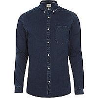 Chemise en jean ajustée bleu marine délavée