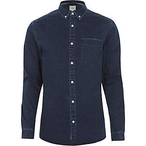 Navy wash muscle fit denim shirt