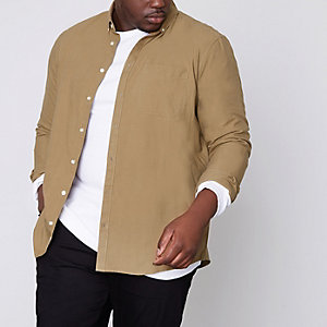 Big and Tall tan button-down Oxford shirt