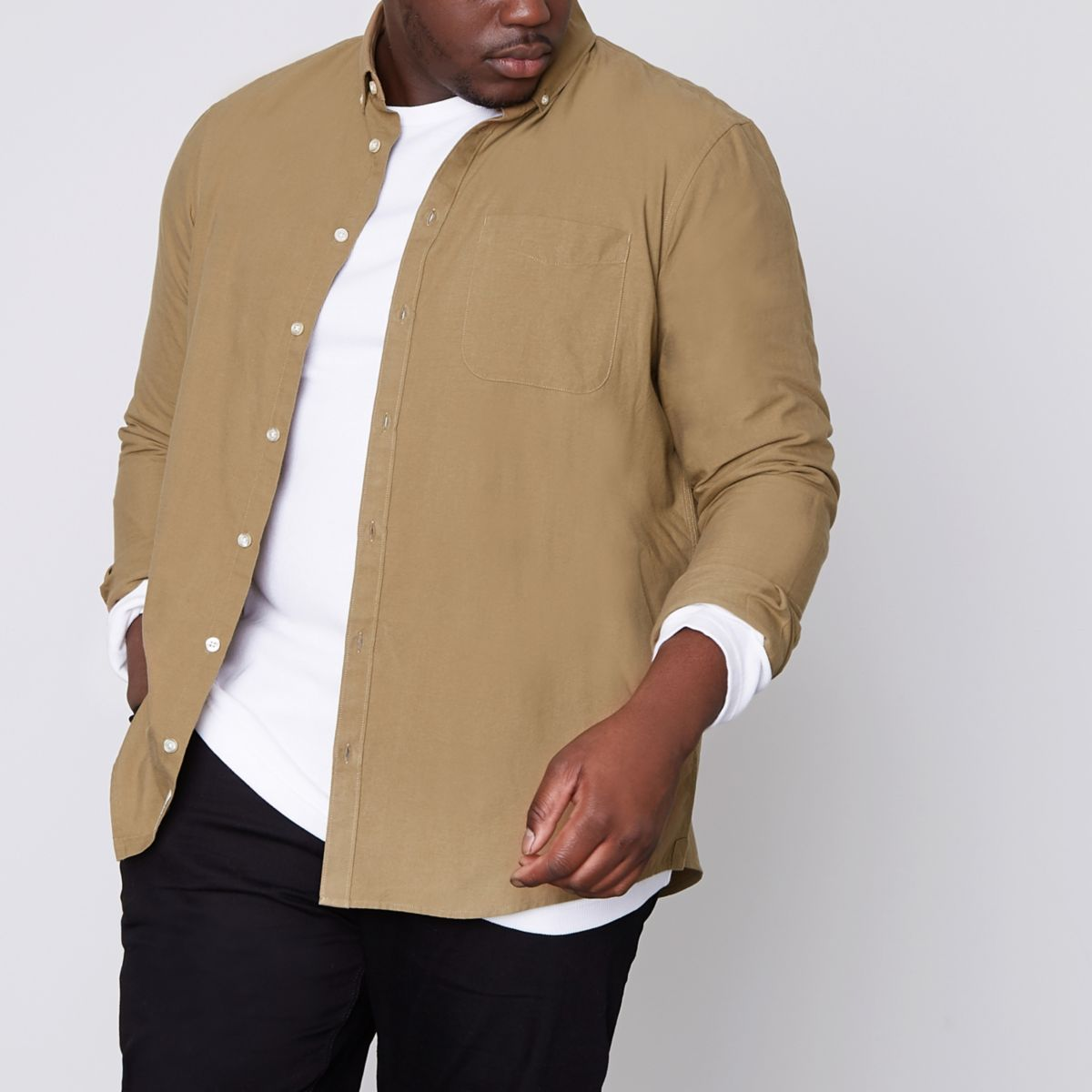 Big & Tall – Hellbraunes Buttondown-Oxford-Hemd