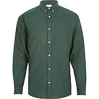 Big and Tall – Chemise Oxford verte à col boutonné