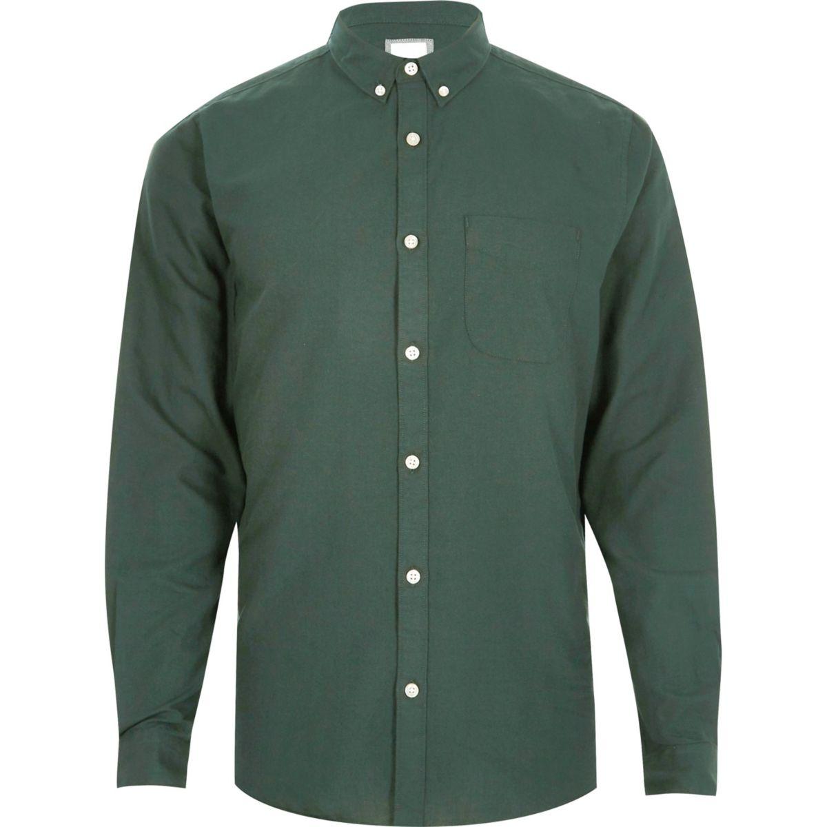 Big and Tall green button-down Oxford shirt