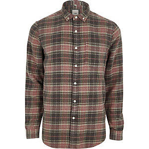 Red check button-down long sleeve shirt