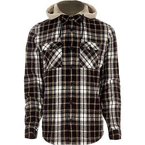 Chemise à carreaux grise avec capuche détachable